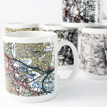 Mugs personalised with a historical map of your home
