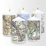 Personalised map candles - centred on your home